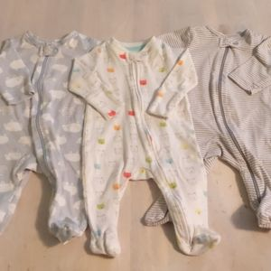 Lot of 3 cotton footed sleepers with zippers